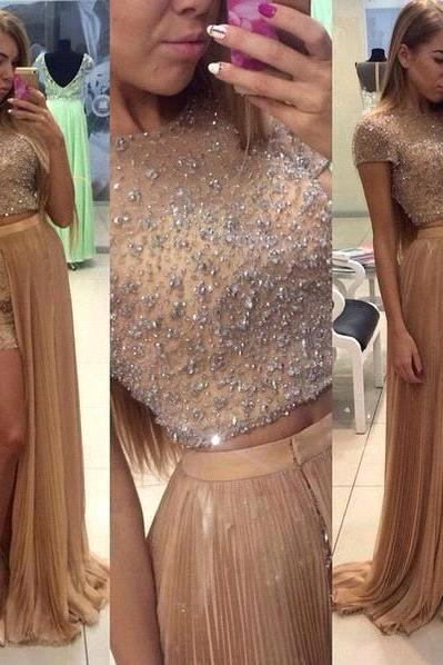 2 Piece Prom Dresses With Short Sleeves 2016 High Slit Long Prom Party Evening Dresses