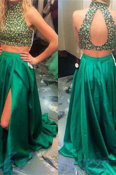 Prom Dresses,Two Pieces Prom Dresses,Open Back Prom Dresses,High Slit Prom Dresses,A-line Prom Gown,Green Satin Prom Dresses,Beaded Prom Dresses,Two Pieces Party Dresses,Homecoming Dresses for Teens