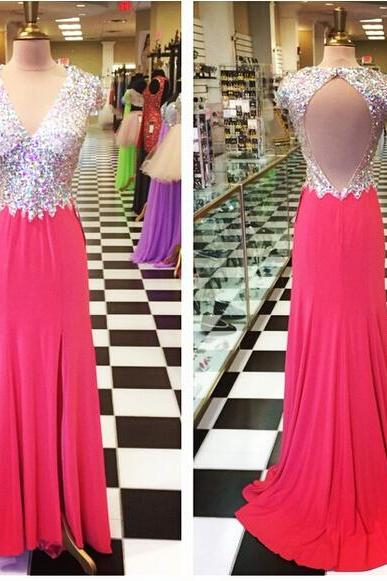 Prom Dresses,Red Chiffon Prom Dresses,A-line Prom Dresses,Open Back Prom Dresses,Beaded Prom Dresses,V-neck Formal Gowns,Cheap Prom Gowns,Evening Dresses for Women,Sexy Party Dresses,Graduation Dresses for Teens