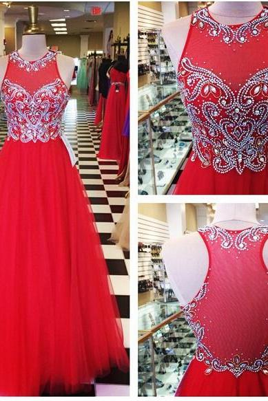 2016 A Line Red Tulle Prom Dresses Sheer Back Beaded Crystals Pleat Evening Party Dresses Gowns
