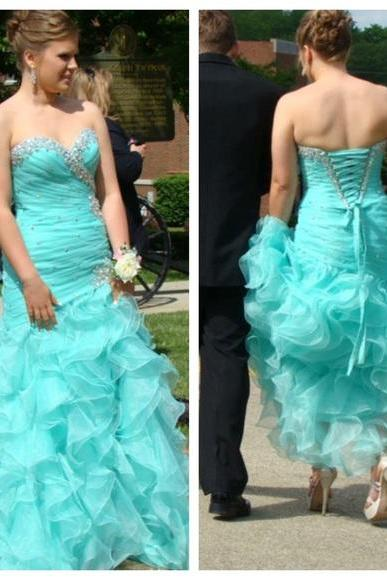 2016 Ball Gown Organza Prom Dresses Sweetheart Beading Crystals Evening Dress Party Formal Dress Gowns Vestidos