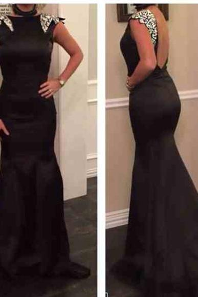 2016 Black Mermaid Prom Dresses Beading Crystals Backless Evening Dress Party Dress Long Formal Dresses for Women