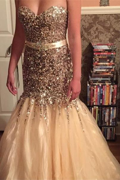 2016 Luxury Bling Bling Ball Gown Tulle Prom Dresses Sweetheart Beading Crystals Evening Dresses Party Formal Gowns Vestidos