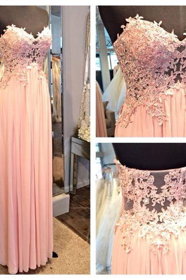 Pink Chiffon Long A-line Prom Dresses 2016 Sexy Sweetheart Appliques Evening Party Gowns Formal Dresses for Women