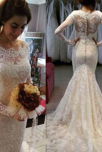 Vintage Long Sleeves Buttons Lace Wedding Dress with Train Mermaid Wedding Dress Long Wedding Dress